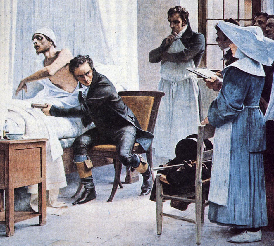 Laennec auscultates a patient before his students